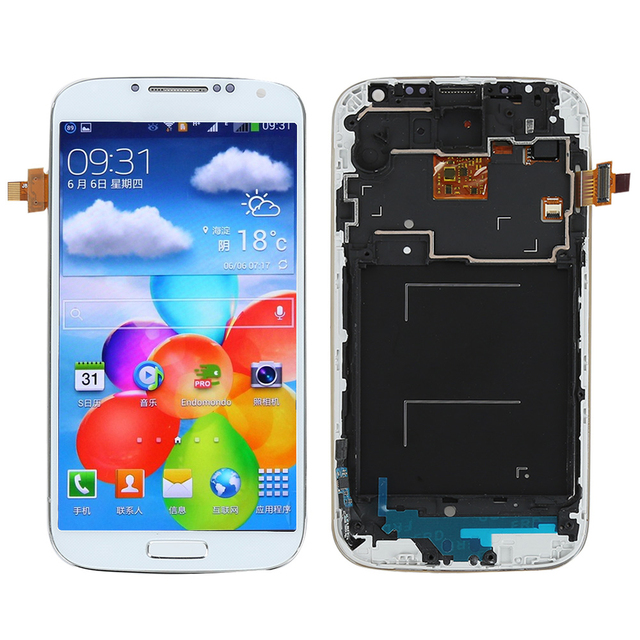 New LCD For Samsung Galaxy S4 i9505 LCD Display Touch Screen Digitizer with Bezel Frame full Assembly +tool, white