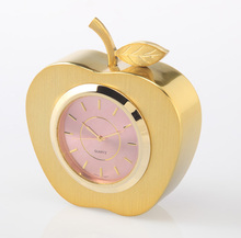 A6051G Gold Delicious Apple shape metal souvenir gift clock