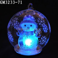 Hot sale color altering RGB Led glass bauble 12 cm with snowman