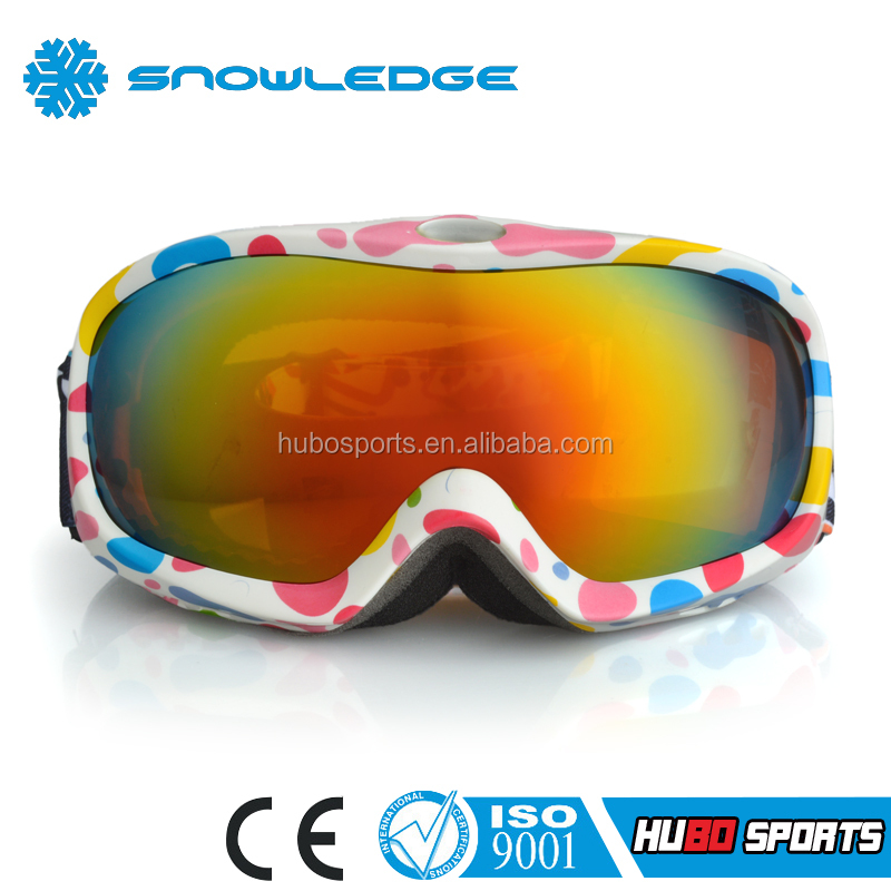 Skiing UV Protection Colourful PC Lens & Fabric straps Sport Safety Goggles HB-119