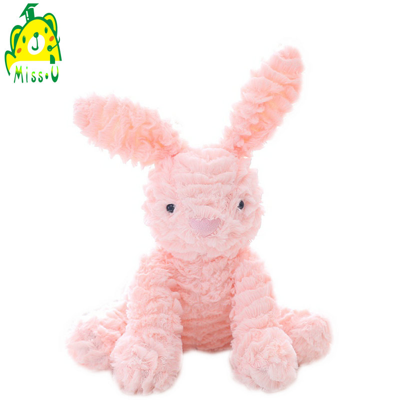 Accept custom wave soft plush stuffed baby cuddly pink <strong>rabbit</strong>