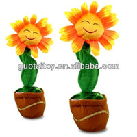 soft plush stuffed singing dancing musical smile sun flower toy kids toy/home decoration/use in car