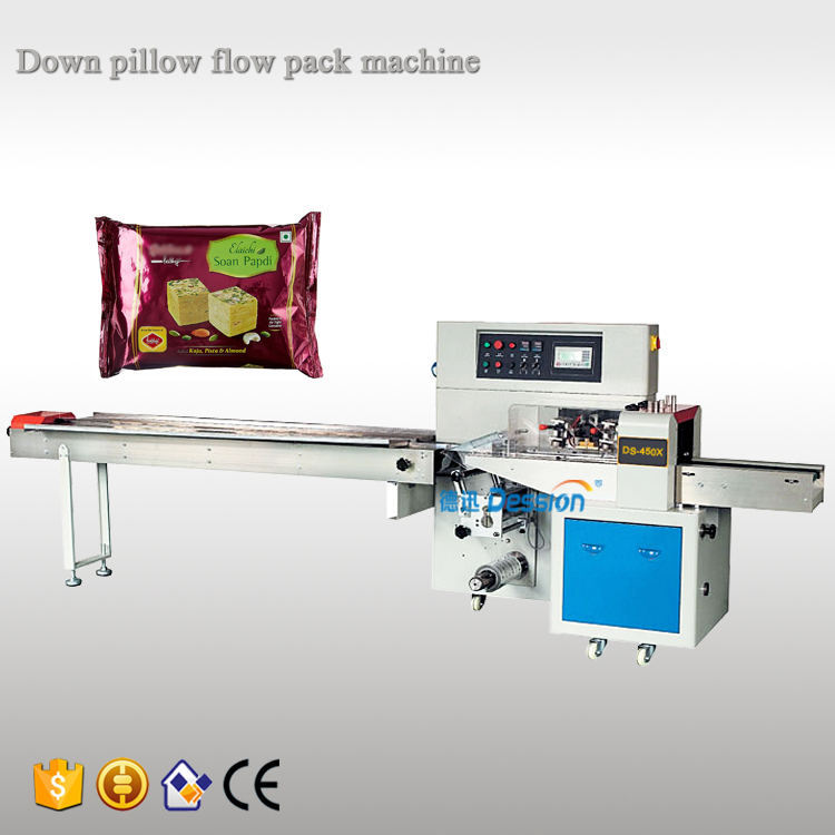 Automatic food soan papdi flow wrapping packing machine
