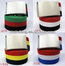 Fashion Metal Buckle Thickening Striped Canvas Belt Manufacture