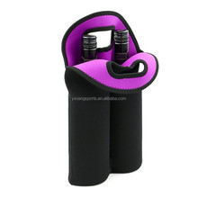 neoprene wine tote bag carrier 2 bottle beverage holder
