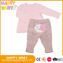 Two Pcs Interlock Baby Girl Clothing Set Infant Toddler Pajama Sleeping Wear Long Sleeve T-shirts and Pant with Lace Trim