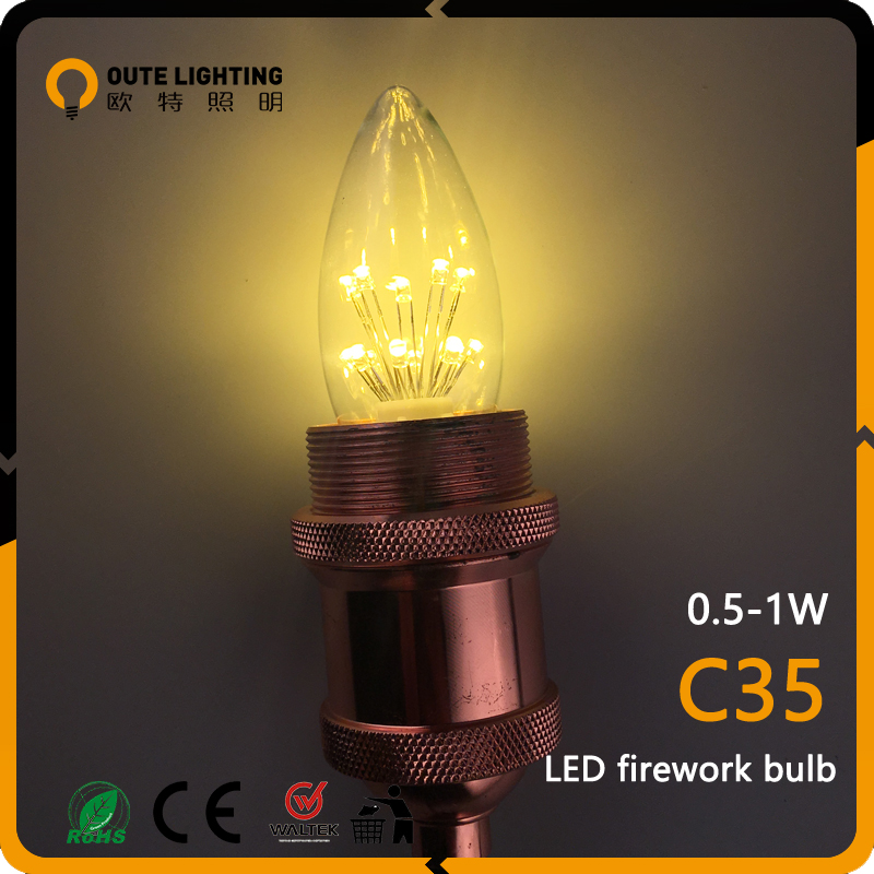 Best Selling Wholesale Vintage Retro 0.5W 1W Firework C35 Edison Led Bulb Light