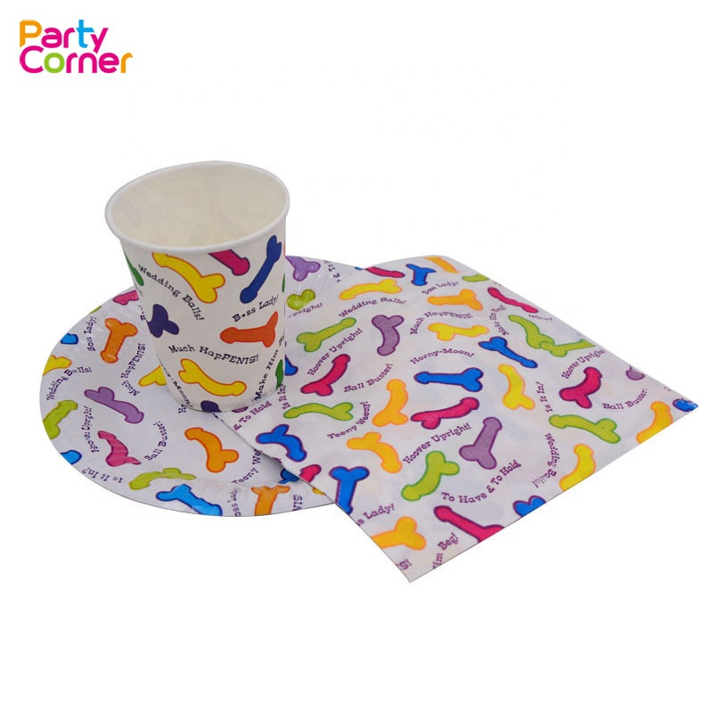 Willy Prints Cups Plates Napkins for Hen Night Bachelorette Party Paper Tableware Supplies