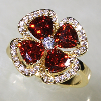 Amazon SJ Hi-Res Image YR7170 Environmental Standard Brass Yellow Gold Plated Garnet Glass Clear Cubic Zircon Flower Ring
