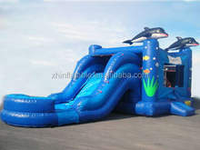2014 hot sale inflatable airplane castle house with giant inflatable water slide for adult