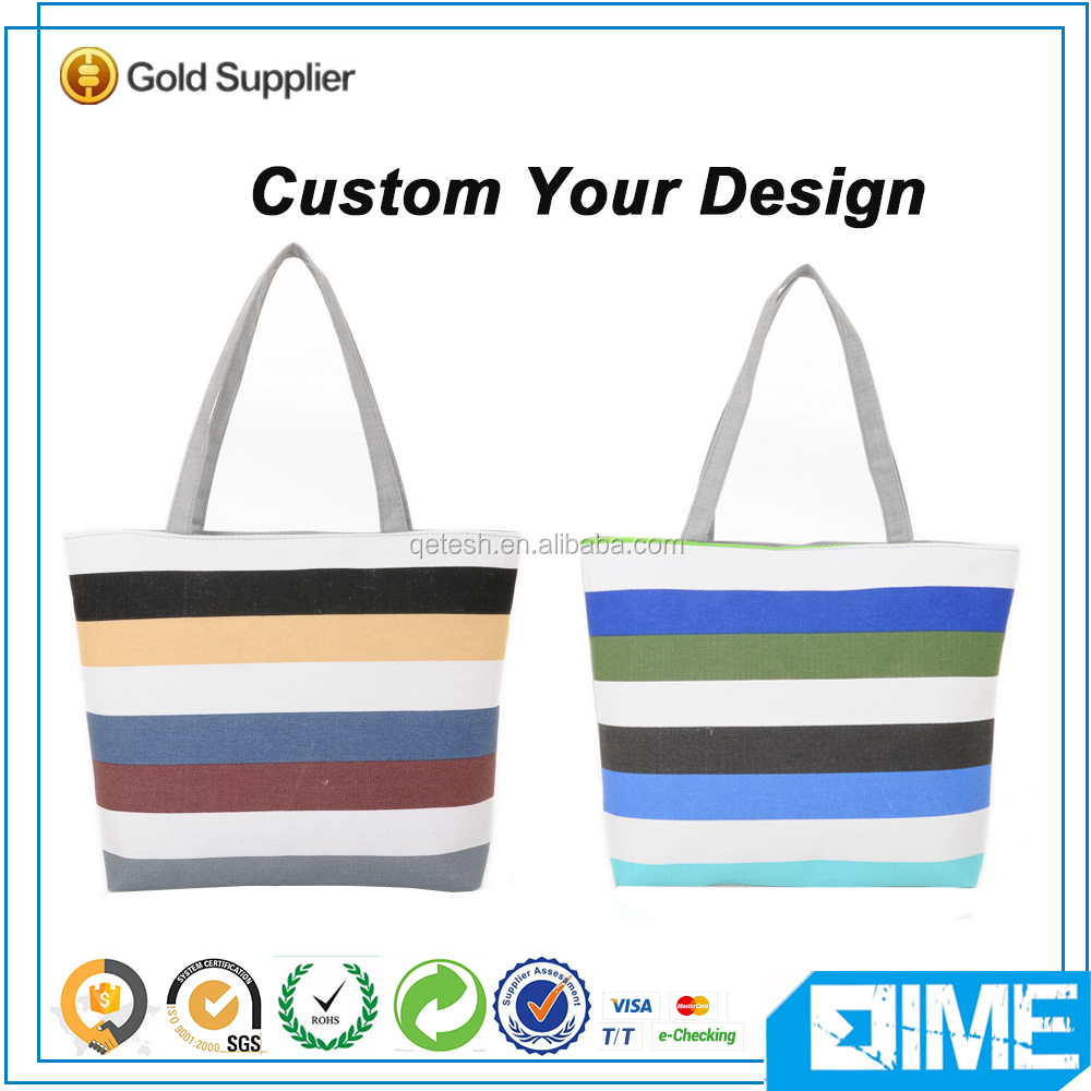 Gorgeous Horizontal Stripes Cotton Shopper Bag With Zipper