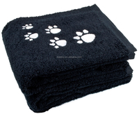 2 Pack Pet Bath Towel 100% Cotton Paw Print Embroidered Dog and Cat