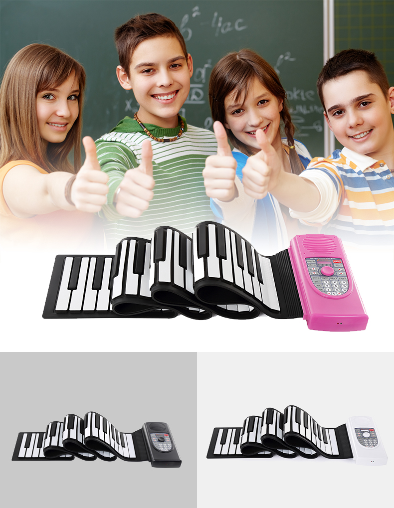 Flexible roll up MIDI grand piano /Electric Toy piano for kids play/practise
