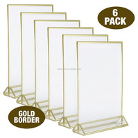 3mm Gold Border, 5-Inch-by-7-Inch Acrylic Photo Frame Table Card Holder ,acrylic sign holder