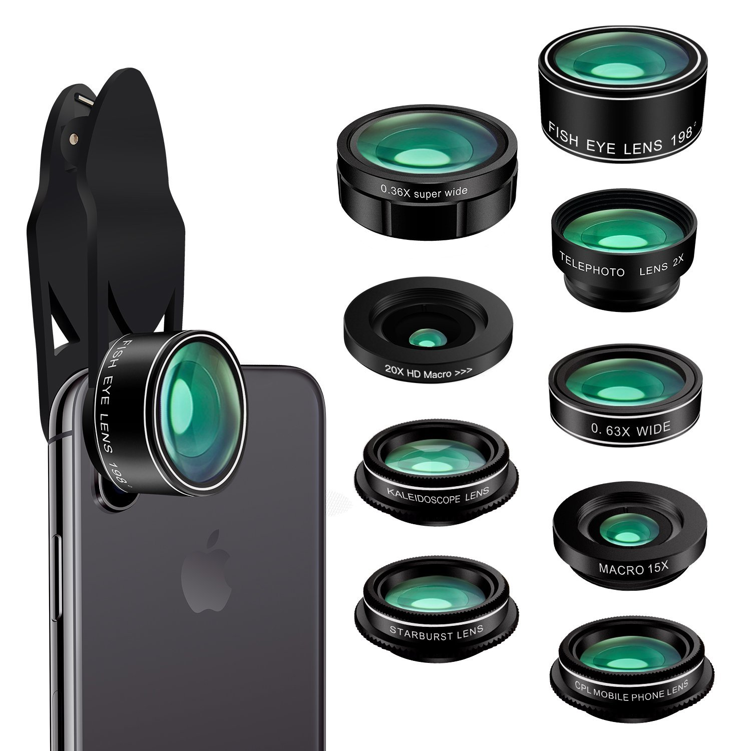 For iPhone 7 Plus 120 Degree Wide Angle HD Aspherical Macro Mobile Camera Clip On Lens kit