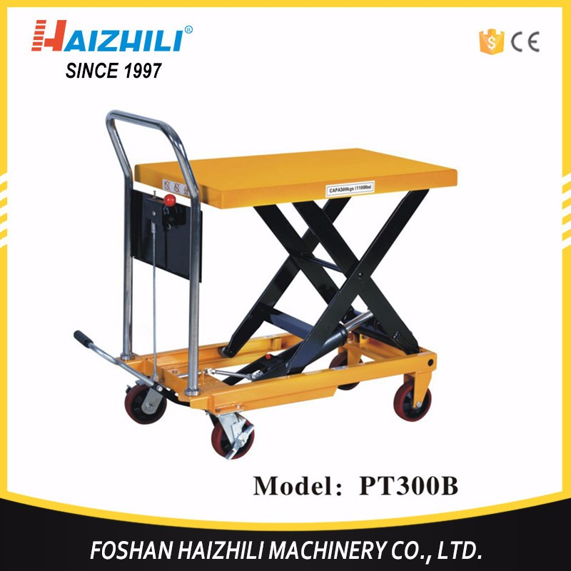 300kg hand light table truck, CE hand crank lift table