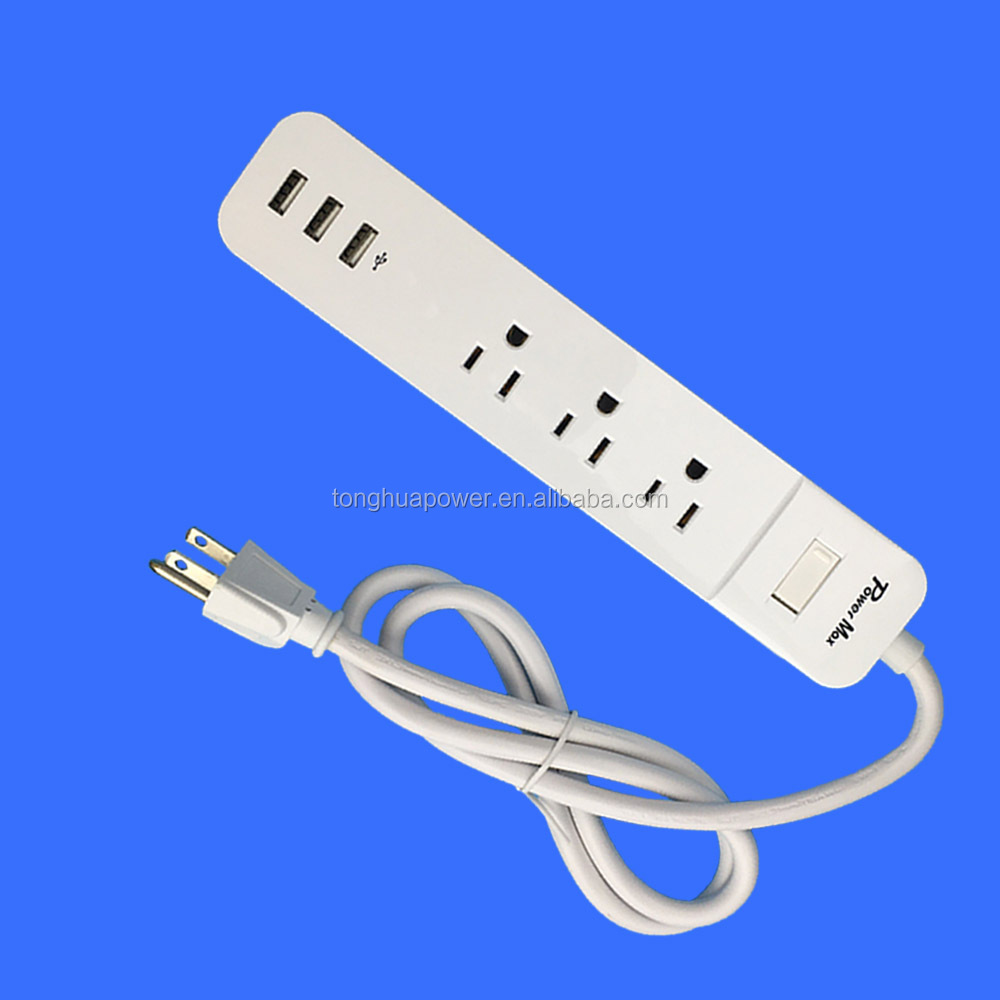 3 way, 3 AC Outlets cETL Certified Power Strip, SURGE PROTECTOR 3-port 3.1A USB charger Premium EMI/RFI Filtering