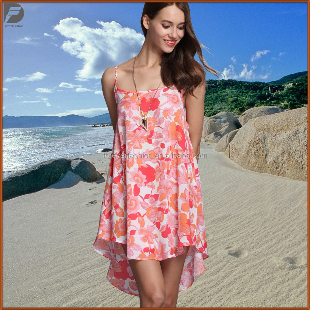 Women Clothing Pink Floral Deisngn Sleeveless Women Summer Dresses
