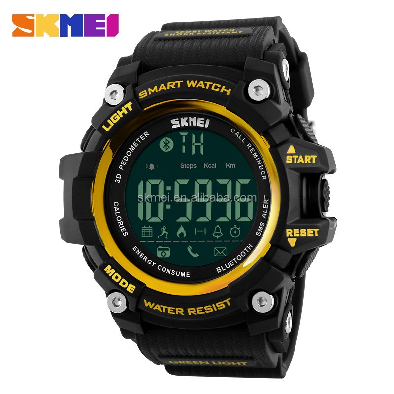 skmei 1227 wristwatch fashionable men dress remote camera smart watch bluetooth with gold color