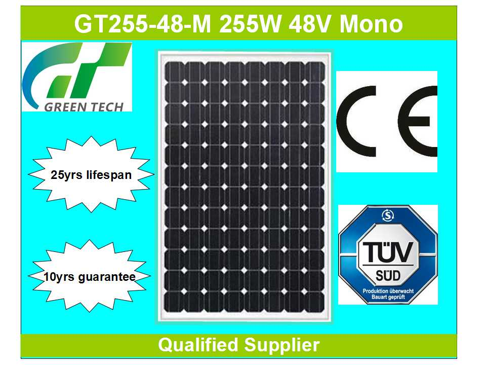 GT255-48-M 255W 48V small solar panels for toys