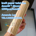 20cm pre-cut kraft paper twist ties for bread/candy/lollipop bags