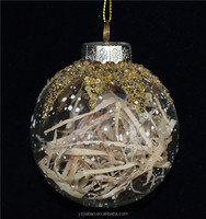 Hot christmas items wholesale, 80mm transparent hanging craft with golden ornament