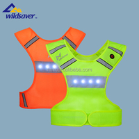 unisex safety reflective running vest with LED flashing