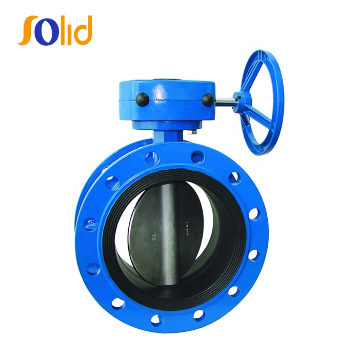 Resilient Seat double flanged,Double Eccentric Butterfly Valve with gearbox and handwheel,BS EN593