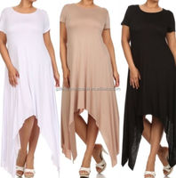 dress long plain plus size latest casual wear fashion for women
