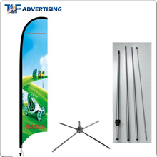 China supplier custom blade flags telescopic pole feather banner flag with hard base