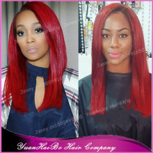 "Stock! Top 7A Quality 10""-32"" #red silk straight malaysian remy hair lace front wigs for black women"