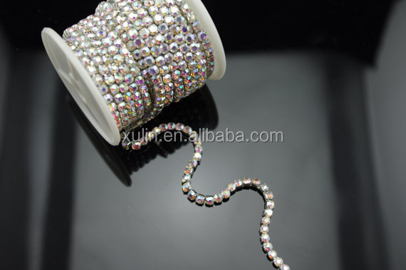 super close crystal AB color silver base rhinestone roll cup chain
