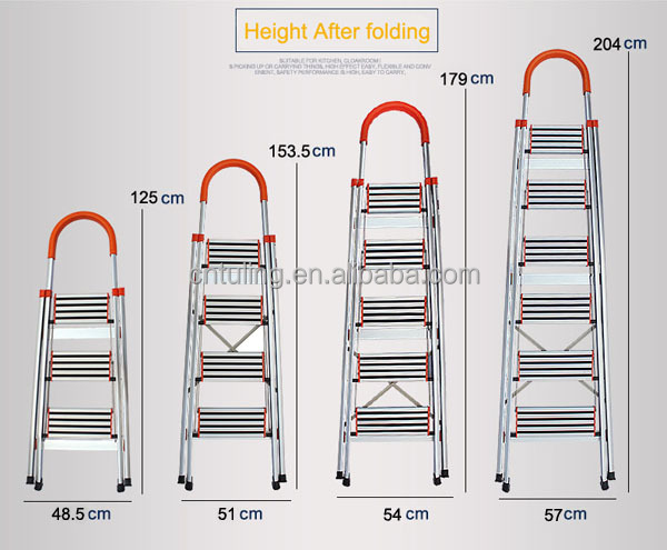 3/4/5/6- step Home use Aluminium folding ladder with safety rail TL-6214