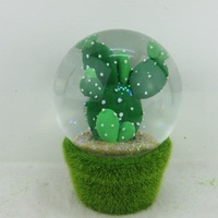 80mm Polyresin Table Decoration Cacti Snowglobe