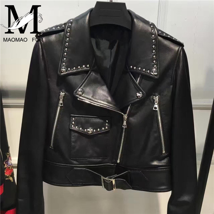 2017 New Fashion Diamond Women Real Leather Jacket Ladies