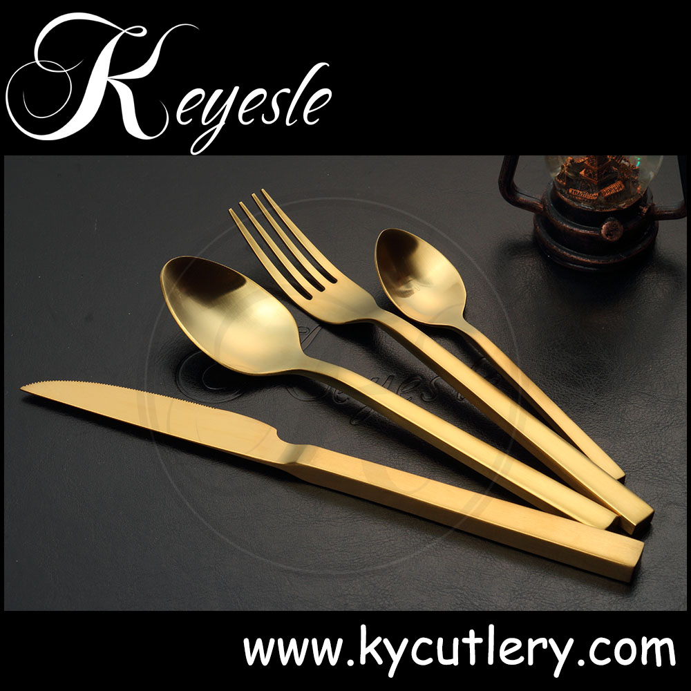 gold forks knives and spoons,matte black flatware set,PVD Titanium Gold plated cutlery