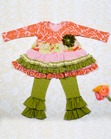 Wholesale fall girls boutique clothing sets baby girls ruffle fall outfits kids fall winter outfits