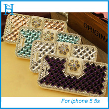 Bling Diamond Bowknot Stand Flip Wallet PU Leather Cover Case for iPhone 4S 5 5C