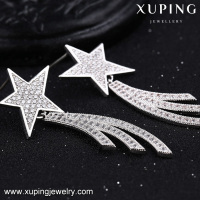 E-158 star shape inlayed stone white color earring european style women earrings