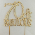 2017 wholesale Gold 70 & fabulous Cake Topper for Cake Decorations