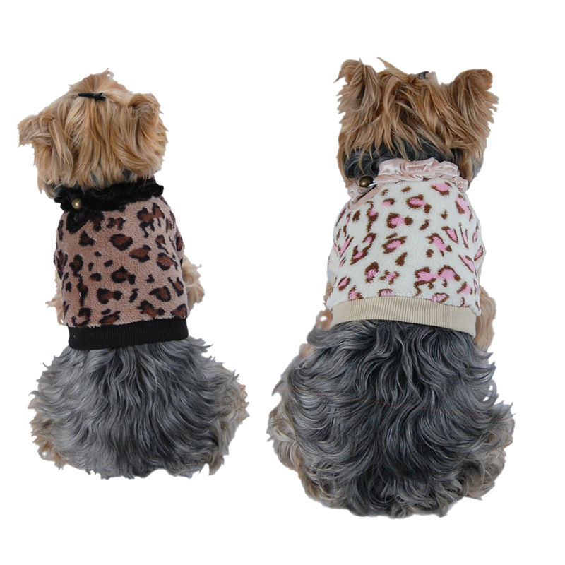 Dog Soft Fleece Leopard Winter Tank top Pet clothes