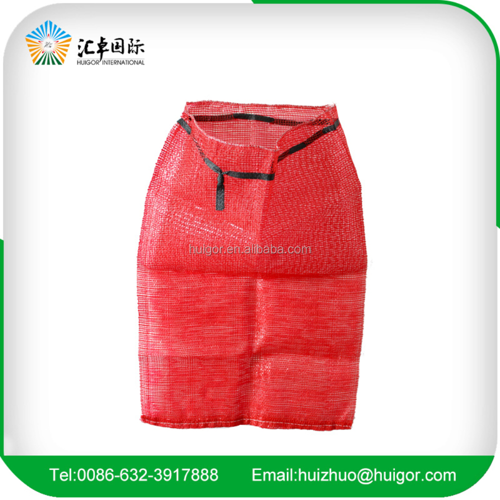 wholesale big drawstring knitted PP/PE mesh bag for potato/onion/firewood