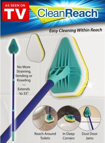 As seen on TV Deluxe Power Scrubber Bathtub Cleaner Kitchen Brush 3 in 1 triangle shape microfiber sponge mop Clean Reach