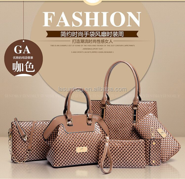 2017 Fashionable 6 PCS 1 Set Ladies Elegant Stone Patent Leather Handbags