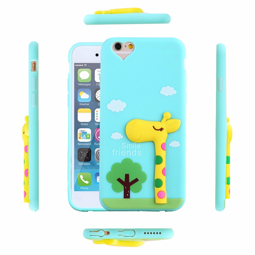 oem cartoon custom rubber character 3d silicone phone case