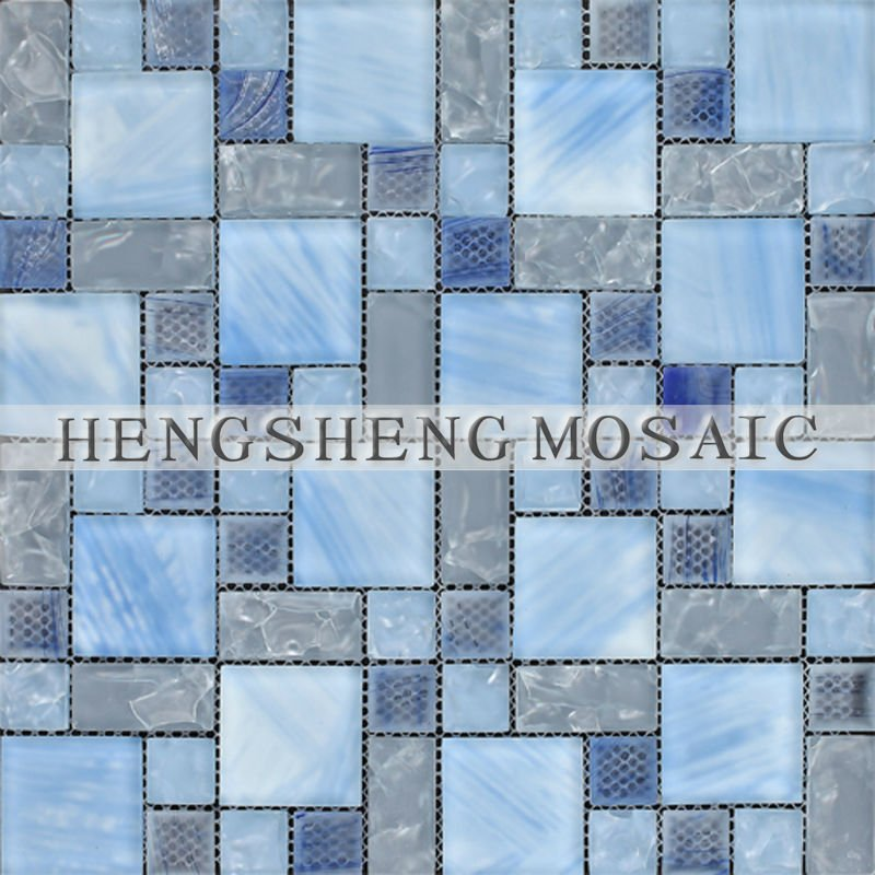 Foshan Blue Bathroom Tiles Broken Cracked Hand Printed Transparent Crystal Glass Mosaic For Living-Room Wall Decoration HMS004