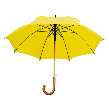 Yellow color Automatic Umbrella with a wooden hook handle