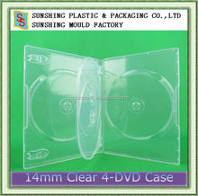 hotsell plastic super clear 14mm 4 discs cd dvd box with 1 tray