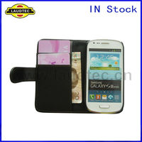 Leather Wallet Case For Samsung Galaxy S3 Mini i8190, Matt Black Cover case, IN Stock
