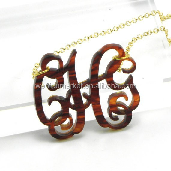 Tortoise shell initial monogram necklace bridesmaid gift